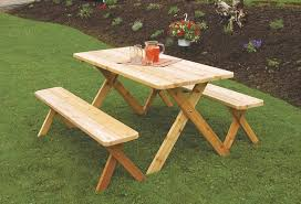 amish cedar wood patio furniture set table with benches stained amish wood furniture home