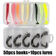 <b>50pcs</b>/<b>lot</b> Wide Gap Worm Fishing <b>Hooks</b> 5 size Jig Crank Big Bass ...