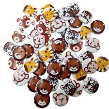 <b>50pcs 20mm</b> Mixed pattern <b>Wood</b> Buttons <b>2 Holes</b> Sewing Craft ...