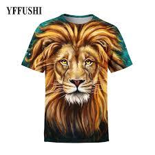 <b>YFFUSHI 2018 Male 3d</b> T Shirt Fashion Long Hair Lion 3D Print Full ...