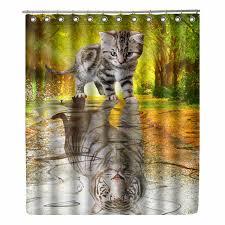 <b>WONZOM</b> Cat <b>Shower</b> Curtain <b>Waterproof</b> Wolf <b>Bathroom</b> Curtain ...