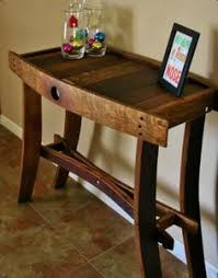 a wine barrel made into entry way table arched napa valley wine barrel table