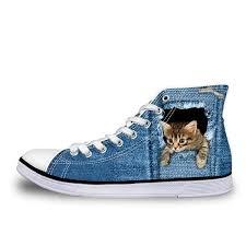 3D <b>cute</b> cat - High Top Canvas <b>Shoes</b> for <b>Women</b> | High top jeans ...