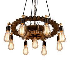 DOCJX Chandelier <b>Retro</b> Industrial Light <b>LED</b> E27 Wood <b>Wrought</b> ...