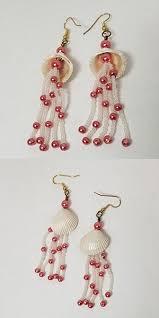 <b>Seashell Earrings</b> – <b>Hot</b> pink and White (#0040)   TL Meckley Designs