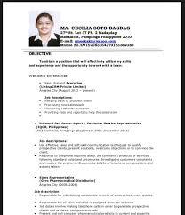 Application letter sample in accounting resume example sample resume example for fresh graduate good resume  juan  dela cruz               juan at pedro pinoy com happy paradise