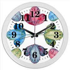 Часы круглые из пластика Яркие листья. #2447908 от Mint Cat