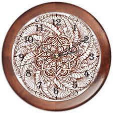 <b>Часы круглые из</b> дерева Цветок в стиле мехенди #2582213 от ...