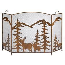 decor wrought iron fireplace screen doors nature outdoors fireplace screen rustic deer mountain forest cabin hom