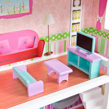 large childrens wooden dollhouse fits barbie doll house pink with furniture barbie furniture dollhouse