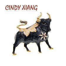 <b>CINDY XIANG</b> New Enamel Bull Brooch Chinese 2021 Year Zodiac ...