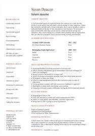 no work experience intern resume