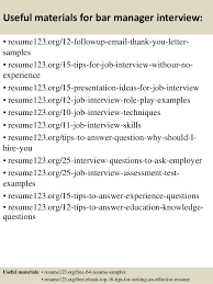top  bar manager resume samples       useful materials for bar manager