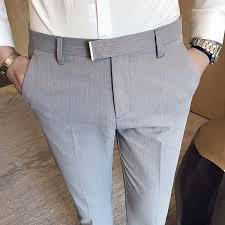 Thin Striped Ankle Length Suit Pants <b>Male Summer Business</b> Office ...