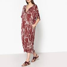 <b>Платье</b> длинное из шелка, тунисский вырез rona кирпичный ...