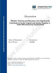 Dissertation Whether Training and Education for Gender Equality Sample