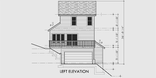 Sloping Lot House Plans  House Plans With Side Garage  Narrow LotHouse front drawing elevation view for Sloping lot house plans  house plans   side