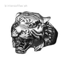 steampunk gothic vintage <b>3D tiger head</b> ring retro cool biker punk ...
