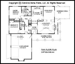 Small Country Ranch House Plan CHP SG   AA Sq Ft   Affordable    SG  Main Floor Plan