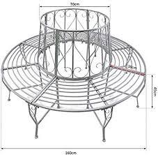 Outsunny Outdoor Garden Metal <b>Round Tree Bench Seat</b> Diameter ...