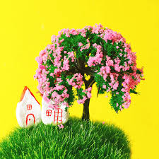 <b>24 Pcs</b>/ artificial trees/miniatures/<b>cute</b> plants/pink flower/fairy garden ...