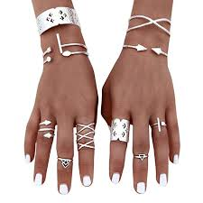 Balakie 6pcs Women Bohemian Vintage Silver ... - Amazon.com