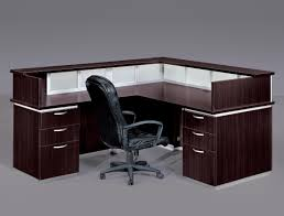 brown l shaped desk with hutch plus drawer with silver handle plus black armchair for smart black color furniture office counter design