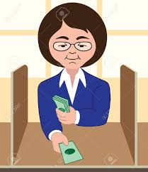 female bank teller processing transaction royalty cliparts female bank teller processing transaction stock vector 33625642