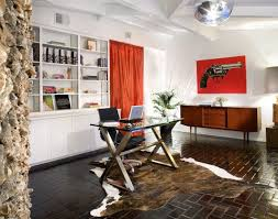 decoration elegant home office in spacious area with modern glass top desk and black swivel animal hide rugs home office