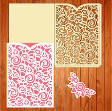 printable laser cut wedding invitation template vector cutting wedding card invitation template leaves flowers svg eps studio lasercut