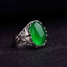 <b>Ruifan</b> Silver 925 Jewelry Nature Oval <b>Green</b> Chalcedony Ring ...