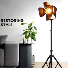 E27 <b>LED retro</b> tripod single head floor lamp black <b>wrought iron retro</b> ...