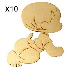 10X Wooden <b>Kids</b> Baby Shape Laser Cut <b>Unfinished</b> Wood Shapes ...