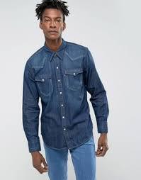 Мужские <b>джинсовые</b> рубашки хлопковые – купить в Lookbuck