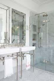 bathroom neutral curtains tiles marble
