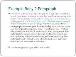 persuasive essayexample body  paragraph ï'Â students