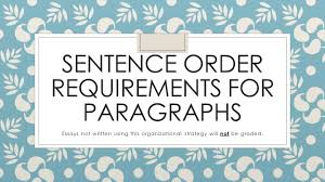 sentence order requirements for paragraphs essays not written 1 sentence order requirements for paragraphs essays not written using this organizational strategy will not be graded