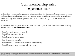 Gym membership sales experience letter SlideShare Gym membership sales experience letter In this file  you can ref experience letter materials for