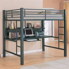 metal gray loft bed with built in desk bunk bed office space