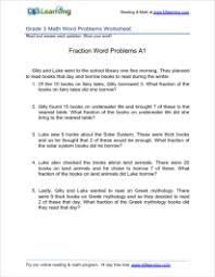 3rd grade math worksheets - fractions - word problems - printable ...Identifying and comparing fractions word problems Grade 3 Fractions Word Problem Worksheet