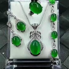 <b>Natural</b> 925 Sterling Silver Jade Medullary Jewelry Sets — BISnJESS