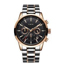 <b>LIGE</b> 9866 <b>Men Watch</b> Quartz Business Wristwatch Stainless Steel ...