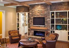decorate living room brick wall brown leather sectional sofa features steel legs dark brown laminated wooden brick living room furniture