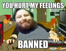 YOU HURT MY FEELINGS banned - DavidReiss666 - quickmeme via Relatably.com