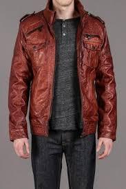 <b>Brown Faux Leather</b> Jacket with Knit <b>Collar</b> / Projek Raw | Threads ...