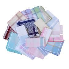 10Pcs Striped <b>Plaid Handkerchief</b> Cotton <b>Printing Hanky Men's</b> ...