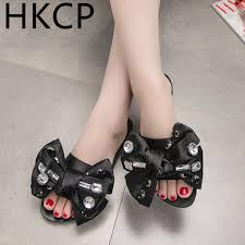 <b>HKCP Fashion 2019</b> Big Bowknot Outside Wear Slippers Female ...