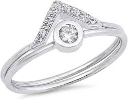White CZ Pointed Wedding Ring Set New .925 ... - Amazon.com