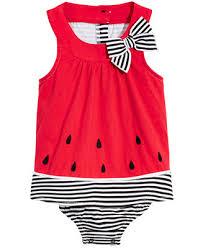 <b>First</b> Impressions <b>Baby Girls</b> Watermelon <b>Cotton</b> Sunsuit, Created for ...