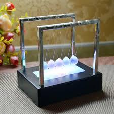 <b>LED Light</b> Up <b>Newton</b> Cradle Pendulum Glass Kinetic Energy ...